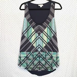 Ava & Viv 1X Top Navy Blue Chevron Sleeveless